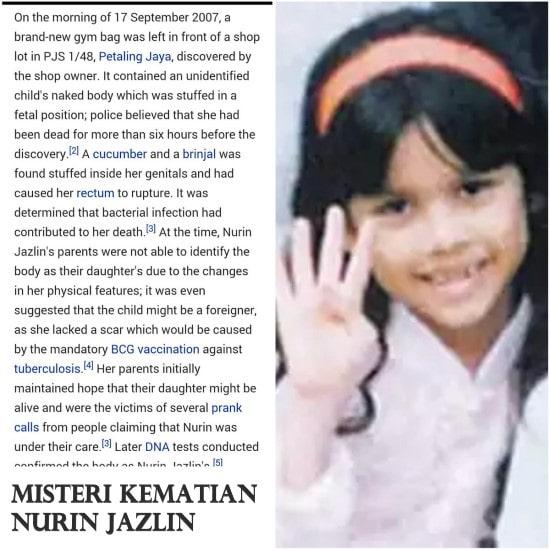 Misteri Kematian Nurin Jazlin, Kriminal Terbesar di Malaysia