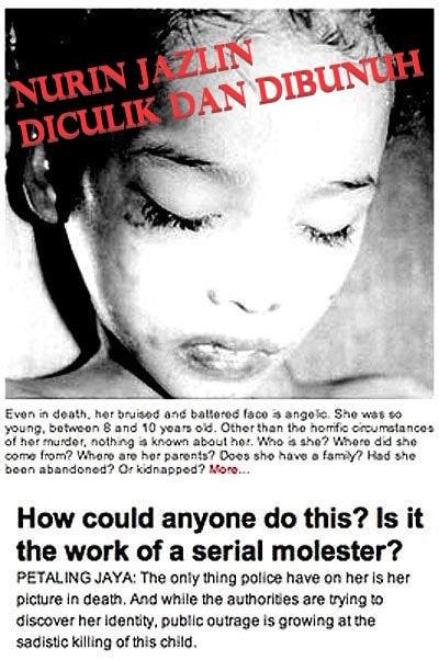 Nurin Jazlin Gadis Kecil yang Diculik dan Dibunuh